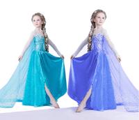 Retail summer girls dress 2015 New girls clothing Elsa & Anna  Dress For Girl Princess Dresses party costume