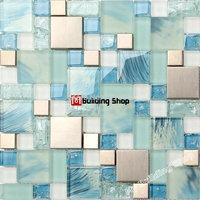 Blue glass mosaic kitchen wall tile SSMT306 stainless steel metal tile backsplash glass wall tiles FREE SHIPPING mosaic tile