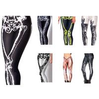 OSAILI Ladies Womens Leggings luminous pants Skeleton print stretchy leggings Silky leggings ladies diffirent design