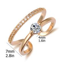 Free Shipping Brand Designer CZ Diamond White Gold Plated Double Zircon Crystal Rings Fashion Jewelry Girlfriend