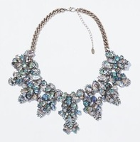 2014 Fashion Pink /Colorful Crystal Pendant Necklace Chain Brand Choker Statement Necklace Women Jewelry