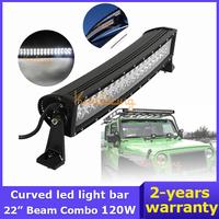 EPISTAR Curved Led Lights Bar 22 inch 120W Trucks 4X4 Off-road Driving Lights12V/24V 4WD Spot Flood Combo Beam Offroad Light Bar