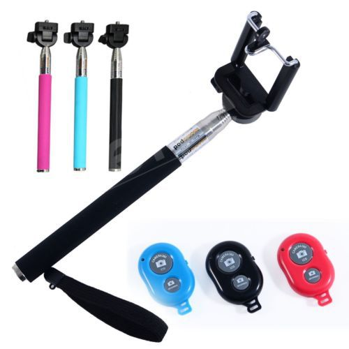monopod extendable selfie stick bluetooth shutter for iphone samsung htc sony smart. Black Bedroom Furniture Sets. Home Design Ideas