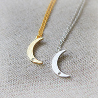 Valentine Day Gift Free Shipping vintage Stainless Steel crystal gold moon necklace silver chain