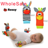 4pcs/lot Baby toy baby rattles toys animal socks Wrist Strap with rattle (2pcs Foot socks+2pcs Bug wrist strap)