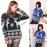 2014 New Top Sale Autumn Winter Lady Women Jumper Long Sleeve Animal Print Sweater Knitwear Pullover Knitwear Tops b4 SV007489