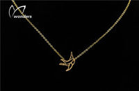 Valentine Day Gift Free Shipping choker 2015 Stainless Steel Swallow necklace unique silver chain
