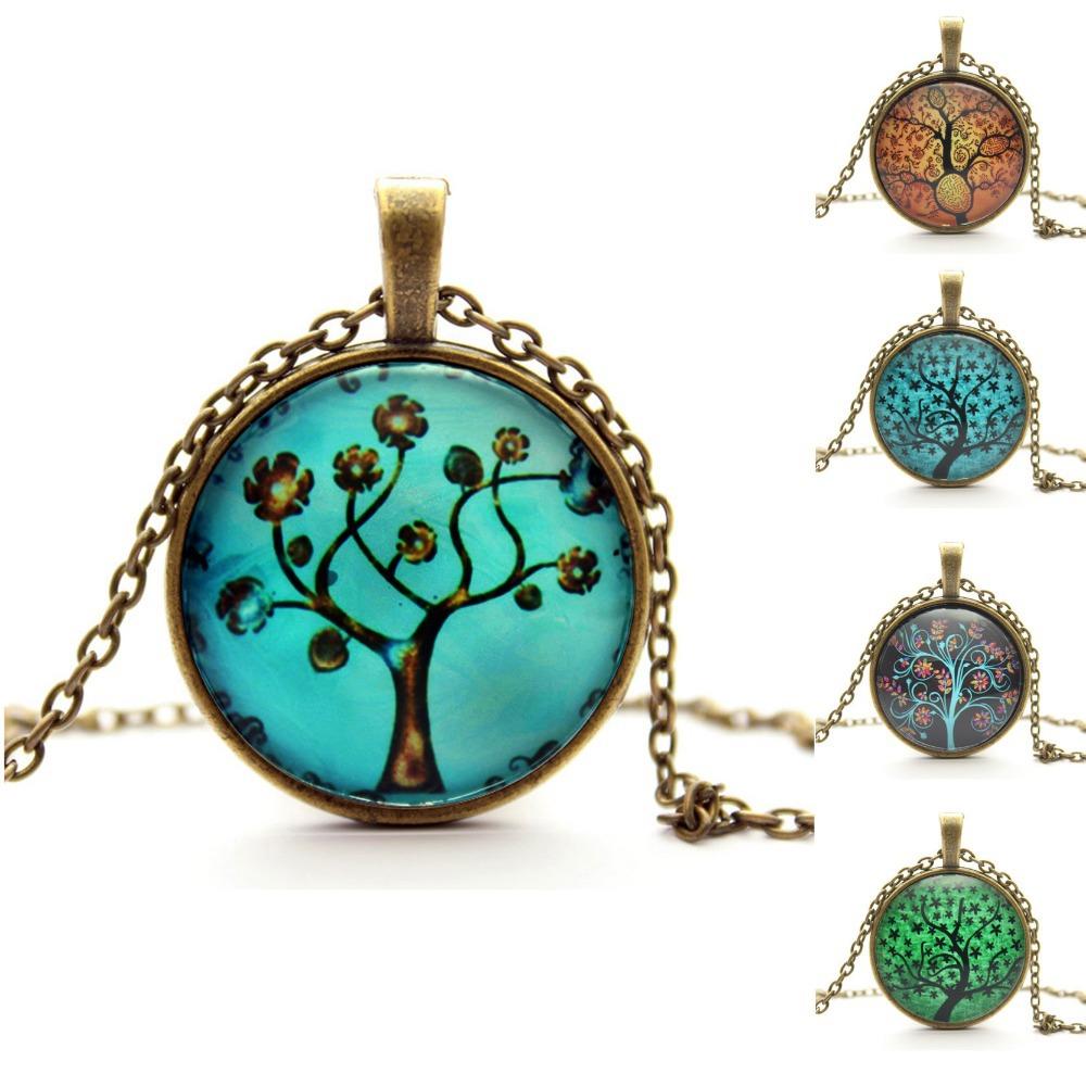 Life Tree Pendant Necklace Art Tree glass cabochon Necklace Bronze chain vintage choker statement Necklace Fashion
