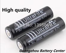 6 Pcs 18650 battery Ultrafire bateria 3.7V 6000mAh Li-ion  Rechargeable Battery Flashlight batteries wholesale free shipping(China (Mainland))
