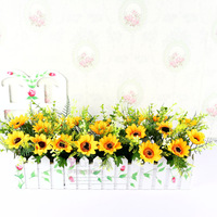 hot selling news High artificial flower sunflower set artificial flower decoration flower rustic fence flowers wild fruit set