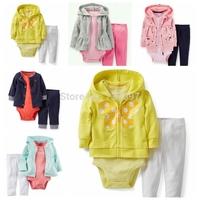 Free shipping new autumn conjuntos,newborn baby girl Clothing Set,cute flower rabbit roupas de bebe 3pcs kids clothes sets