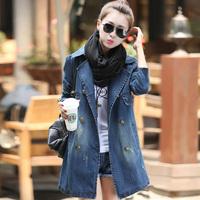 Casual Women Clothing 2015 European and American Denim Jacket Long Sleeved Jeans Coat Female Overcoat Girl Blazer Outerwear Blue