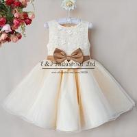 Popular Girls Princess Dress Yellow High Grade Chiffon Lace Flowers Dress With Bow Kids Party Wear Free Shipping GD40814-26