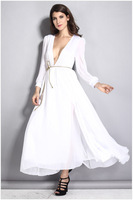 Sexy Long Sleeve V-neck party Dresses Women Fashion Low Cut Slit Whit Chiffon Maxi Dresses Long Prom Party Celebrity M L XL