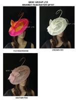 BIG saucer Sinamay Fascinator Hat with long otrich spine for wedding.,kentucky derby.fuchsia/orange,cream,black,heather pink.