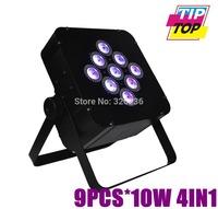 Freeshipping 9pcs*10W 4IN1 Led Par Light DMX512 Mega Quadpar Profile 3/6DMX Channels Disco Light 90V-240V RGBW Color DMX Par Can