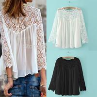 Sizes S-4XL 7 Plus Sizes New Brand Top Quality 2014 Womens Lace Crochet Chiffon Blouses Shirt Long Sleeve Sexy Women Clothing