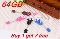 Buy 1 get 7 free Real capacity 64gb pen drive usb 2.0 64GB u disk usb flash drive gift cat cartoon 64 gb memory card flash drive
