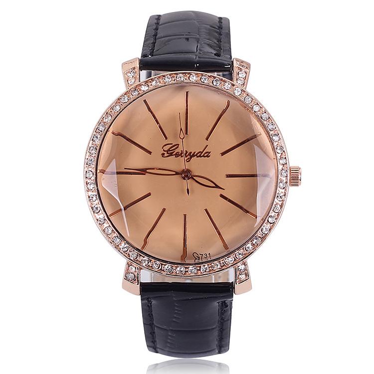 2014 Top Selling Watches Rhinestones Ladies Quartz Brand Gold Women Luxury Analog PU Leather Dress Wrist Watch Free Shipping(China (Mainland))