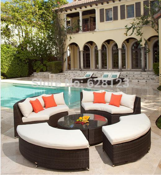 ODSF039 Outdoor garden outdoor rattan furniture, hotel coffee shop imitation rattan sofa combination teahouse center round sofa(China (Mainland))