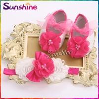 Girls shabby flower Baby shoes Headband set,Vintage diamond/pearl baby girl shoes,fashion baby zapatillas bebe #2T0012 4 set/lot