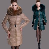 Skinnwille 2013 thickening medium-long plus size down coat&parka Oblique zipper raccoon fur collar luxury down jacket for women