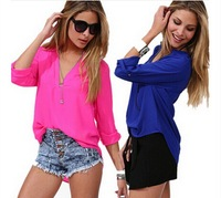 2014 spring/summer shirt Europe and America the new plus size shirt women long sleeves shirt chiffon