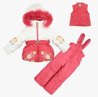 2014 new baby girl winter ski clothing set kids windproof warm snow suits Down jackets+vest+pants fashion children set -30Degree