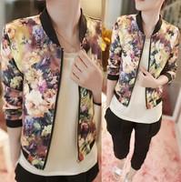2014 Autumn New Fashion Floral Print Long Sleeve Zipper Women Jacket Slim Cut coat S-XXL Free Shipping LSJ1010