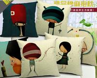 decorative cushion coversHigh Quality 100% Cotton & Linen Pillow Cover Cushion Case, Childhood memories cushion cover