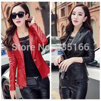 New Arrival Women PU Leather Jacket Suit Collar Short Design Female Cool Slim Coat Faux Leather Clothing Red/Black  #JM06902