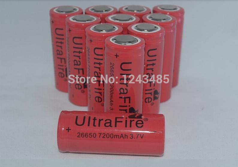 4 Pcs/lot 26650 battery 7200mAh 3.7V high capacity Li-ion Rechargeable Battery UltraFire Flashlight batteries free shipping(China (Mainland))