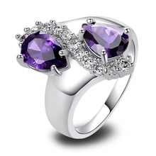 Wholesale New Jewelry Fashion Amethyst & White Topaz 925 Silver Ring Size 7 8 9 10