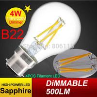 100pcs 2015 New Arrive Hot Sale LED Lamp LED Filament Bulb 4W B22 AC220V Warm White LED Bulb High Brightness