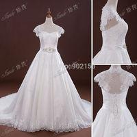Real Photos Custom Made Lace Cap Sleeves Crystal Beaded Satin Sash Bridal  Wedding Dress With Keyhole Back
