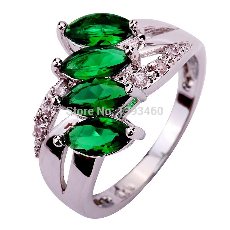 Free Shipping Emerald Quartz 925 Silver Ring Size 6 7 8 9 10 11 Delicate New