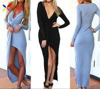 2014 Hot fashion women's sexy bodycon dress long sleeve deep V-neck angkle-length party club bandage evening dress