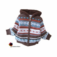 New Children Clothing Autumn Winter Boys Thick Warm Sweater Coat Coffee Hooded Jacquard Sweater Coat Kids Outwear