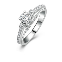 Unique 0.5 carat modern cz diamond engagement ring (MATE R125)