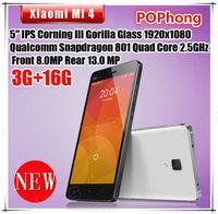 stock Original Xiaomi Mi4 M4 smartphone 16GB 64GB WCDMA cell phones miui v6 snapdragon 801 quad core 2.5GHz 3GB RAM