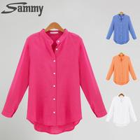 HD-fashion women Blouse Plus Size blusas femininas 2014 Autumn Occupational shirt Candy Colors Long Sleeve Shirts Tops