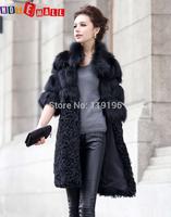 2014 Ladies Fashion Genuine Real Fox Fur Coat Jacket & Lamb Fur Hem Half Sleeve Winter Women Fur Trench Outerwear Coats