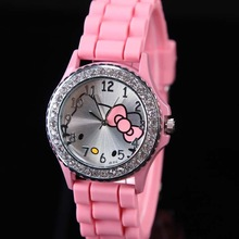 Mix Color Leather Hello Kitty Watch For Women Girl Children Kid Gift Wristwatches Watches Lovely Cartoon Free Shipping 2014(China (Mainland))