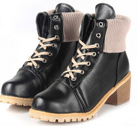 2014 New Style Autumn Boots Womens Girls Vintage Combat Punk Goth Lace Up Ankle Pu Leather Shoes Biker Boots ILXZ5018