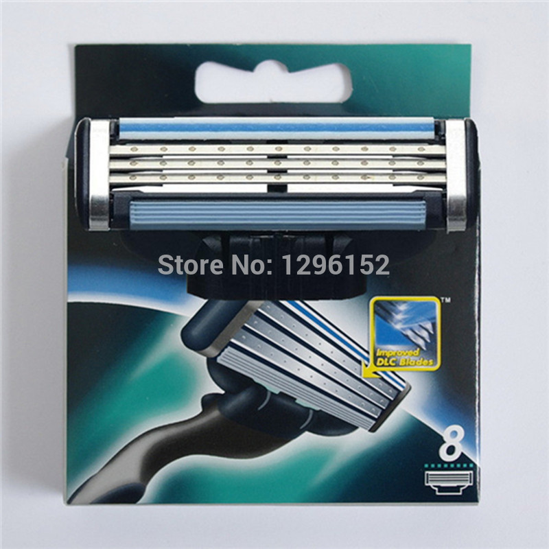 8pcs/lot mache 3 baldes Quality A++ Razor Blades for men brand shaving razor blade Standard for all the country free shipping(China (Mainland))
