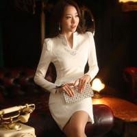 New White Office Dress Women Work Wear Autumn Dress V-neck Long Sleeves Knitting Winter Dresses Plus Size Women Clothing