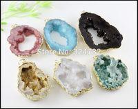 6pcs Gold Tone Nature Druzy Geode Pendant ,Agate Slice Gem stone Pendant , Drusy Crystal Quartz Pendant Jewelry findings