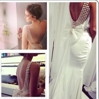 Exquisite pearl mermaid wedding dresses! New design sexy beautiful beaded back bow knot gown custom made elegant wedding dress