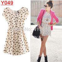 Y049--Free Shipping  HOT SALE Autumn Summer dress Fashion Animal Bird Print Dress Plus Size S-XXXL