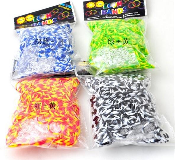 Colorful Rubber Band Loom Bands Children Fun DIY Bracelet Opp Bag Package 300pc+12pcs Clip+Hook Set(China (Mainland))